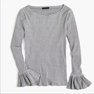 J Crew ribbed knit long bell-sleeve top tee grey